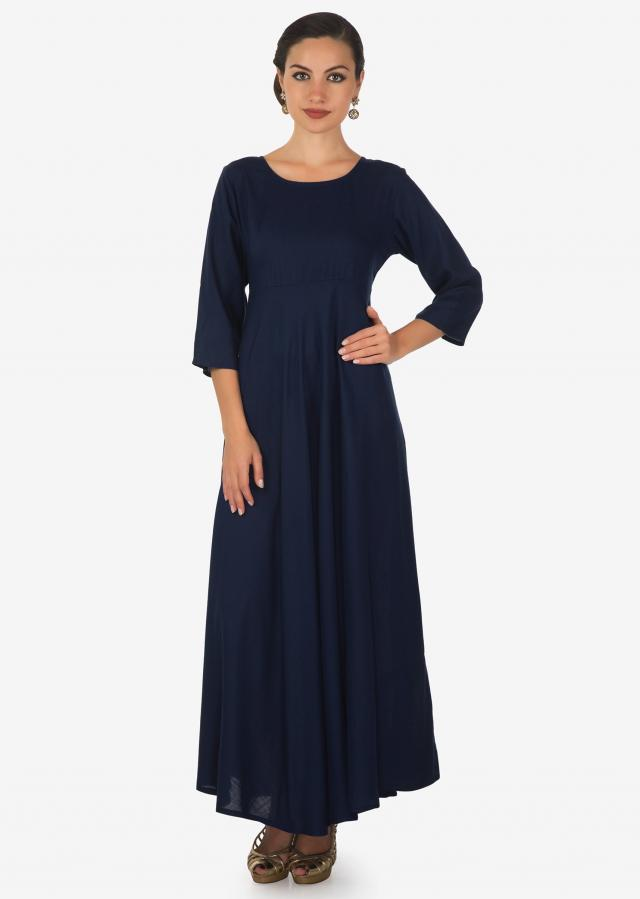 Navy blue long dress in cotton with navy blue printed top in fancy tassel only on Kalki