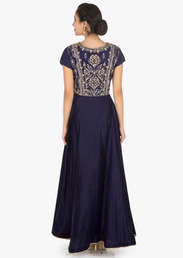 Navy blue anarkali gown enhanced in gotta patti and zari embroidery work only on Kalki