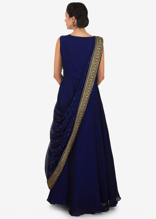 Navy blue anarkali suit in chiffon with attach kundan embroidered dupatta only on Kalki
