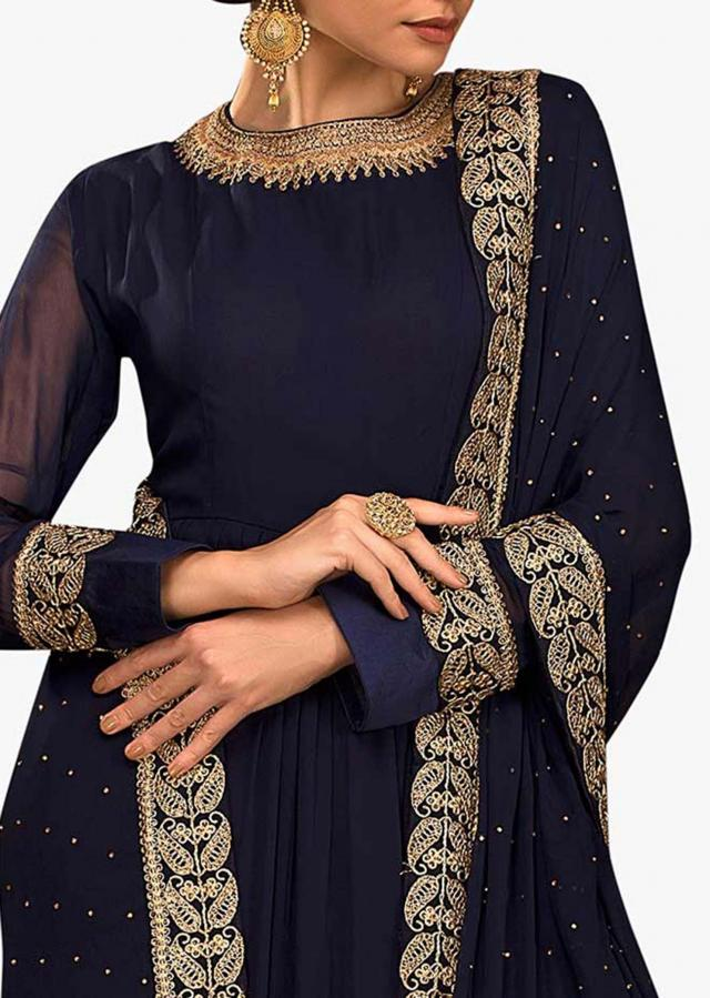 Navy blue anarkali suit in georgette with embroidered neckline and hem