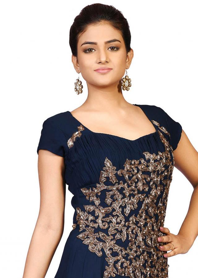 Navy blue antique gown in georgette showcasing the pita embroidery work only on Kalki