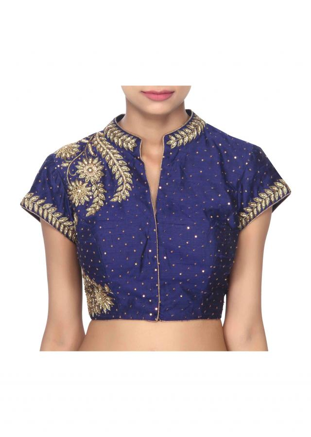 Navy blue blouse adorn in zardosi embridery only on Kalki