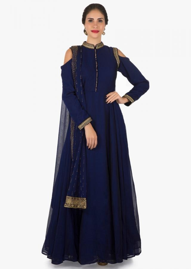 Navy blue cold shoulder anarkali suit with kundan and zari embroidery work only on Kalki