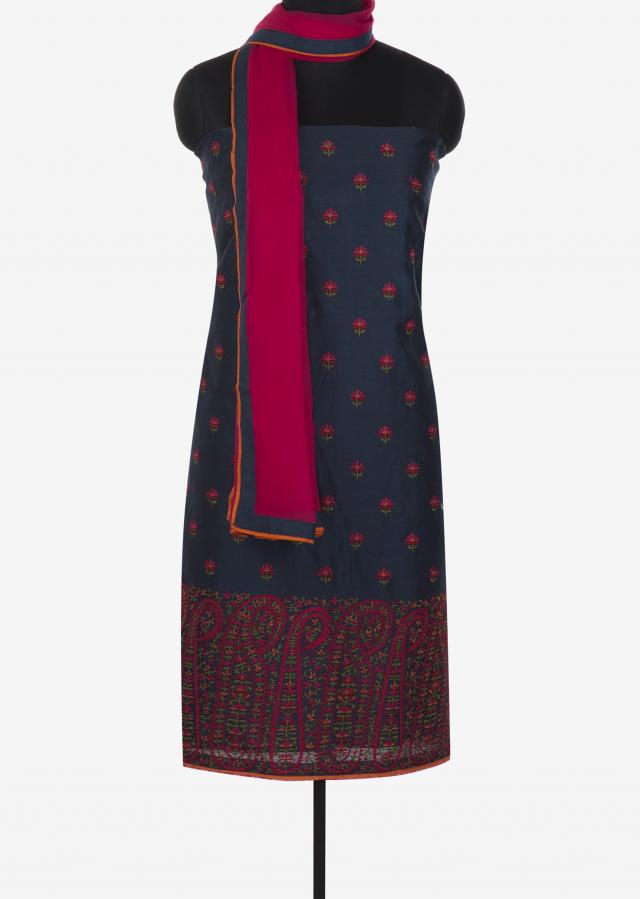 Navy blue cotton unstitched suit in floral and paisley motif in resham only on Kalki