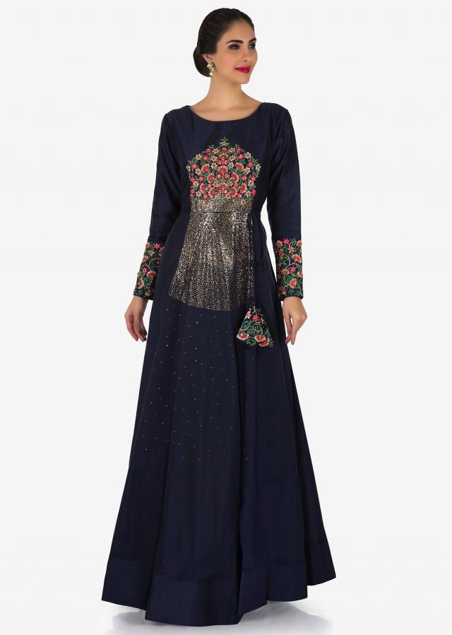 Navy blue gown in silk with embroidered bodice and full sleeve only on Kalki