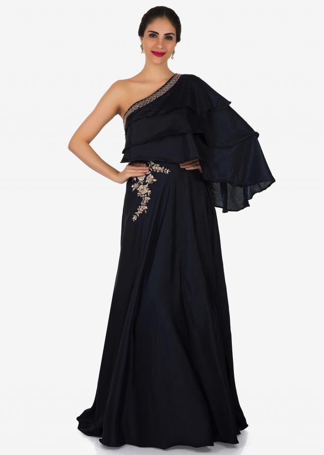 Navy blue gown in silk with layered bodice and gotta lace work only on Kalki