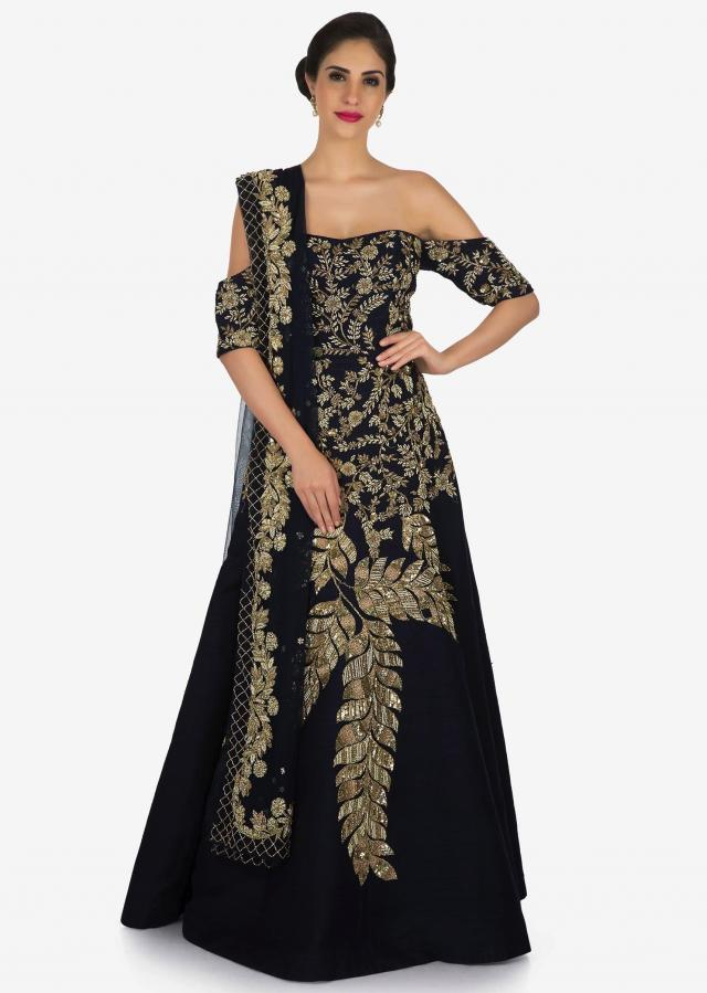 Navy blue gown suit embroidered with cut dana and sequin embroidery work only on Kalki
