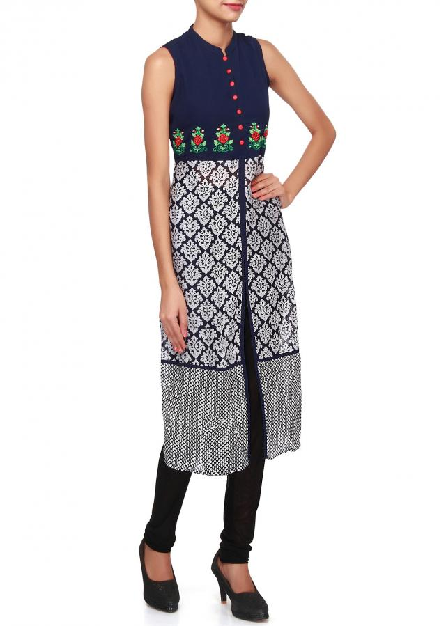 Navy blue kurti featuring with resham embroidery only on Kalki