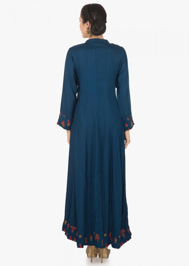 Navy blue long dress in cotton with resham embroidered butti in floral motif only on Kalki