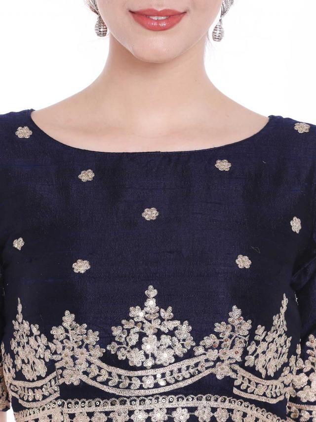 Navy blue raw silk blouse embroidered butti in zari and sequin embroidery work only on Kalki