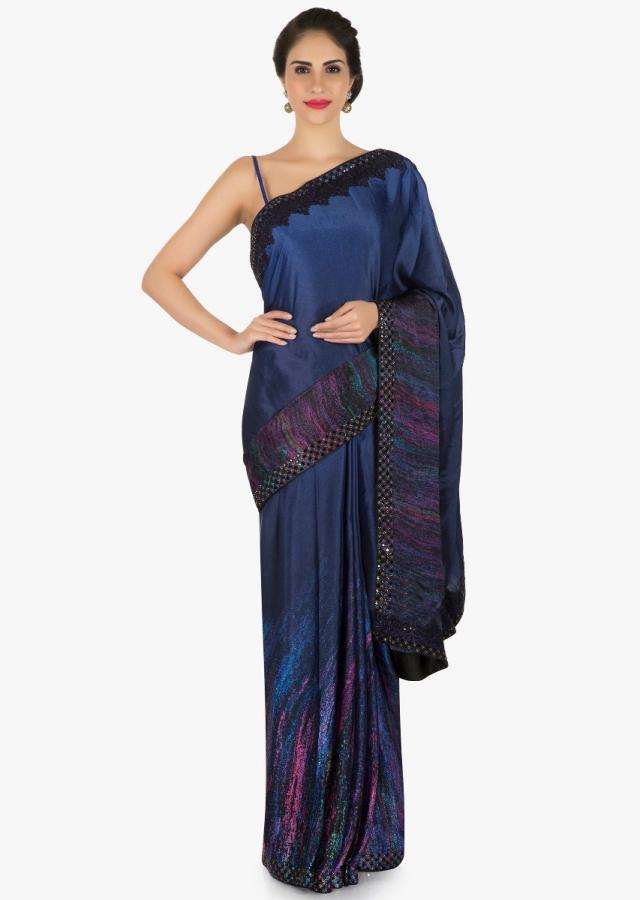 Navy blue saree in printed satin with kundan border only on Kalki