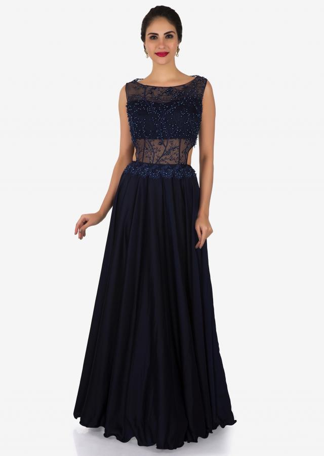 Navy Blue satin gown beautifully adorn in moti work only on Kalki