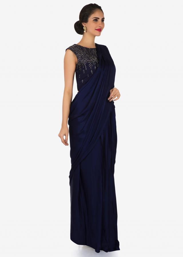 Navy Blue satin pre-draped saree beautified with cut dana work only on Kalki