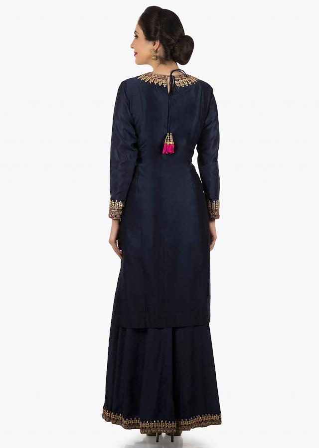 Navy blue silk top adorn in gota patch work and sequin work only on Kalki