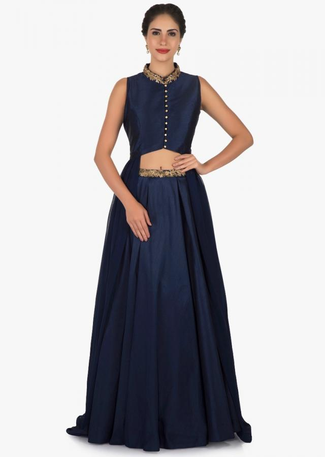 Navy blue skirt and top set beautified with zari embroidery work only on Kalki