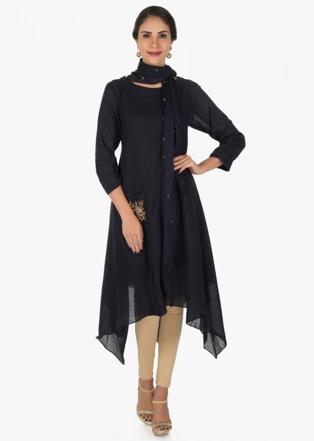 Navy Blue Tunic Adorned In Zardosi Embroidered Work Online - Kalki Fashion