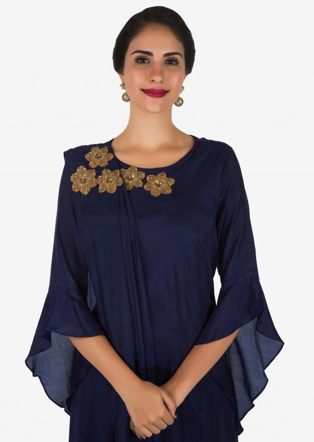 Navy Blue Tunic In Cotton Embellished In Cut Dana And Zardosi Flower Butti Work Online - Kalki Fashion