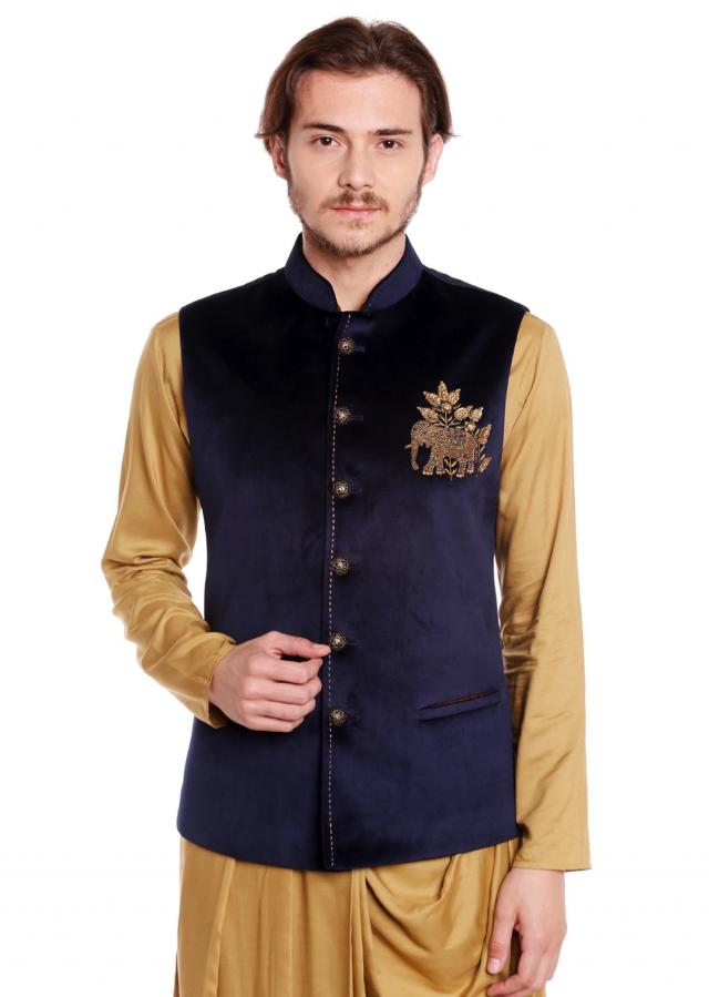 Navy Blue waist coat in velvet adorn in elephant motif with embroidered butti only on Kalki