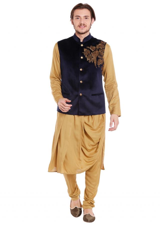 Navy blue waist coat in velvet with cowl drape kurta set only on Kalki