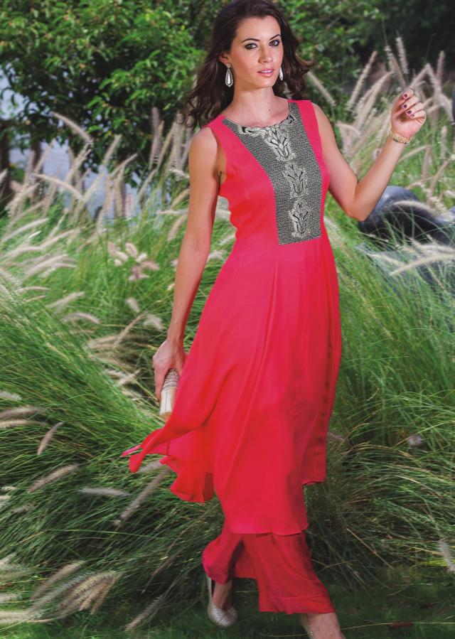 Neon pink kurti embellished in zari embroidery