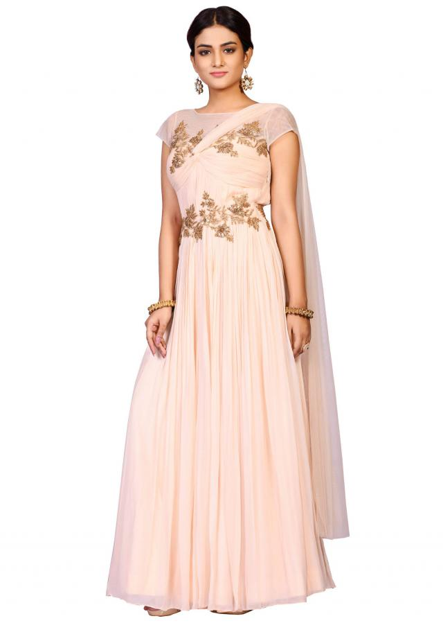 New Pani Pink drape gown in georgette enhanced in antique embroidery only on Kalki.