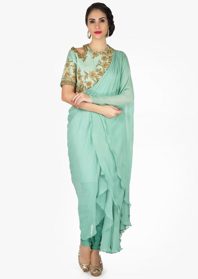 Nile blue suit in georgette with fancy drape and embroidered bodice only on Kalki