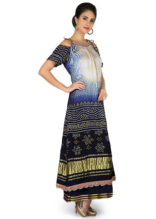 Off white and navy blue bandhani printed dress with cold shoulder only on Kalki