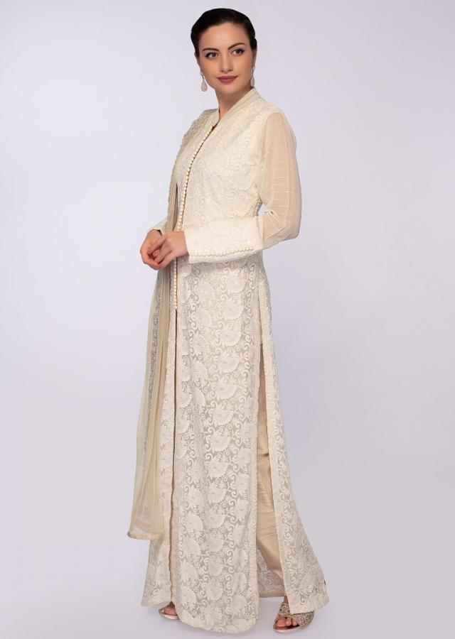 Off white chicken embroidered chiffon suit with front and side slit only on Kalki