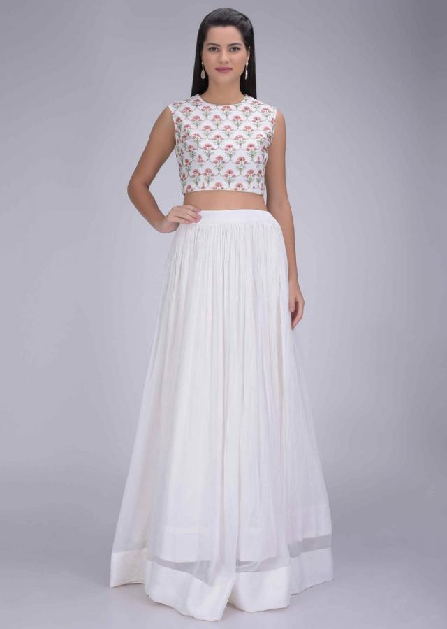 Off White Skirt In Chiffon With Printed Chiffon Crop Top And Jacket Online - Kalki Fashion