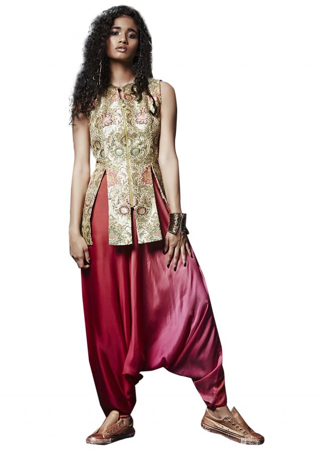 Off white jacket in brocade silk with aladdin pants only on Kalki