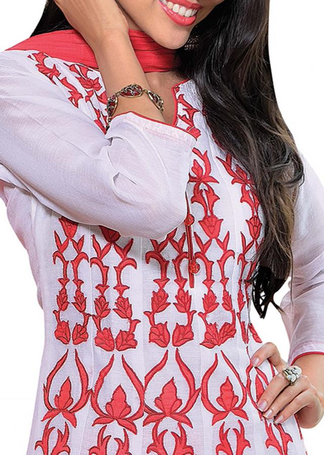 Off white kora silk suit embellished in applique embroidery