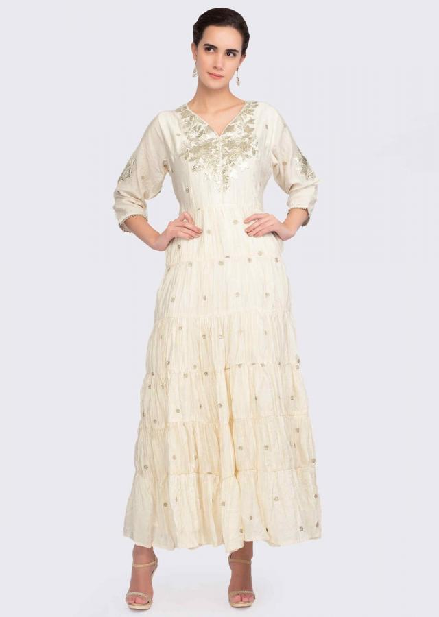 Off White Long Tunic Dress In Cotton With Lace Embroidered Placket Online - Kalki Fashion