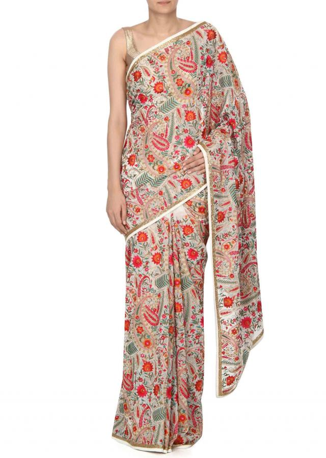 off white saree in kashmiri thread work only on Kalki