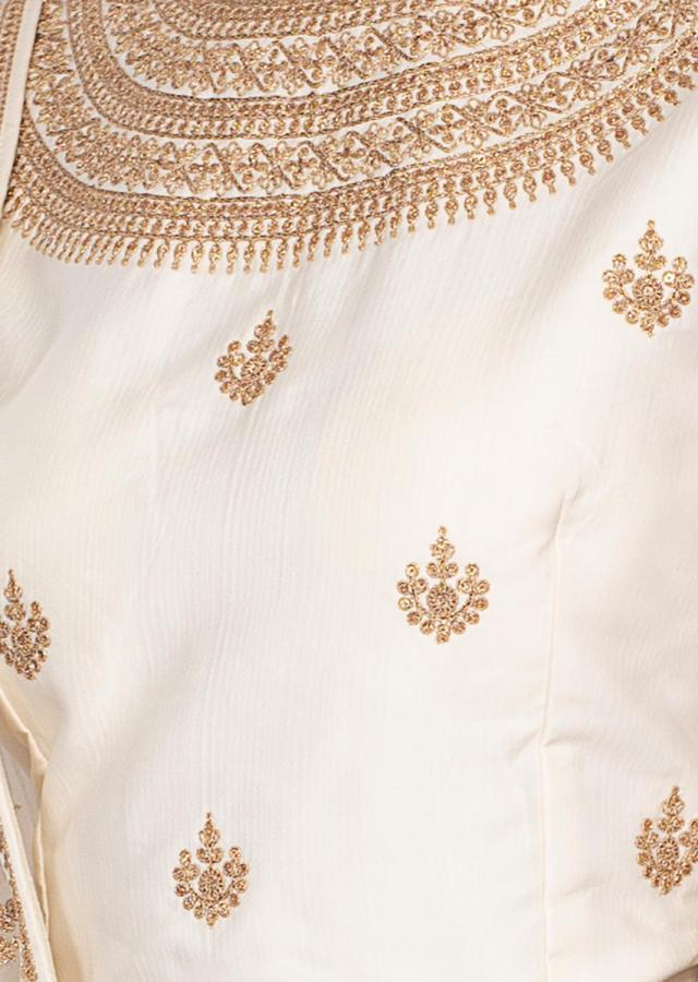 Off White Anarkali Dress In Silk With Embroidered Bodice Online - Kalki Fashion