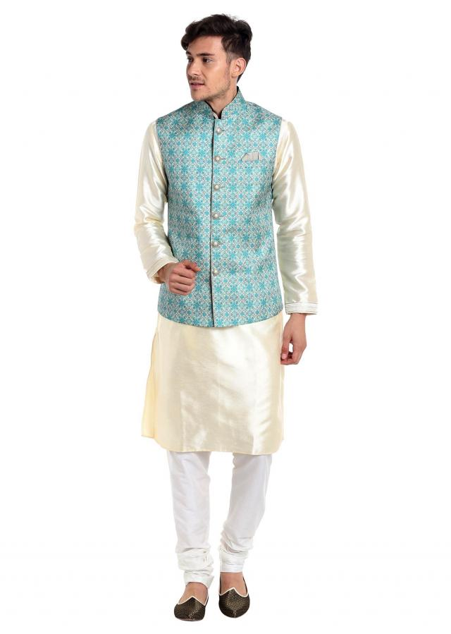 Off White Silk kurta and Blue Cotton Printed Waistcoat Only on Kalki