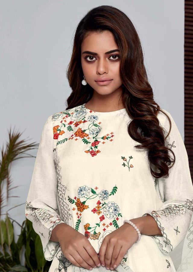 Off White Unstitched Suit In Cotton With Floral And Abstract Geometric Print Online - Kalki Fashion