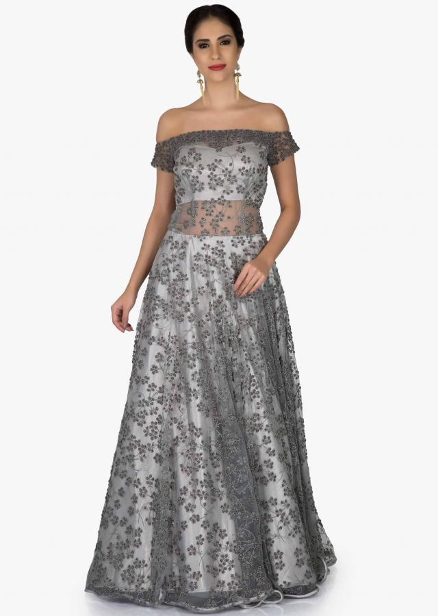 Off Shoulder Grey Net Gown Adorned with Embroidered Floral Motifs only on Kalki