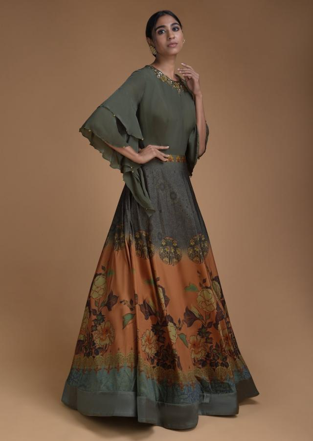 Olive Green Indowestern Gown In Silk With Floral Print And Bell Sleeves Online - Kalki Fashion