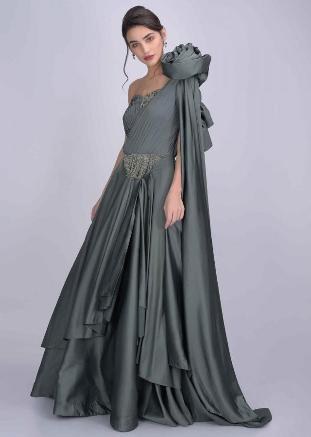 Olive Green Gown In Satin And Crepe With Fancy 3D Flower On The Shoulder Online - Kalki Fashion
