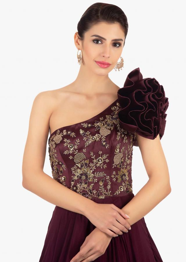 Plum Gown With One Shoulder Neckline And Multiple Layered Bottom Online - Kalki Fashion