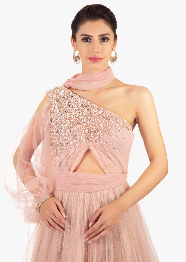 Pink Gown In Net With Ruching And One Shoulder Neckline Online - Kalki Fashion