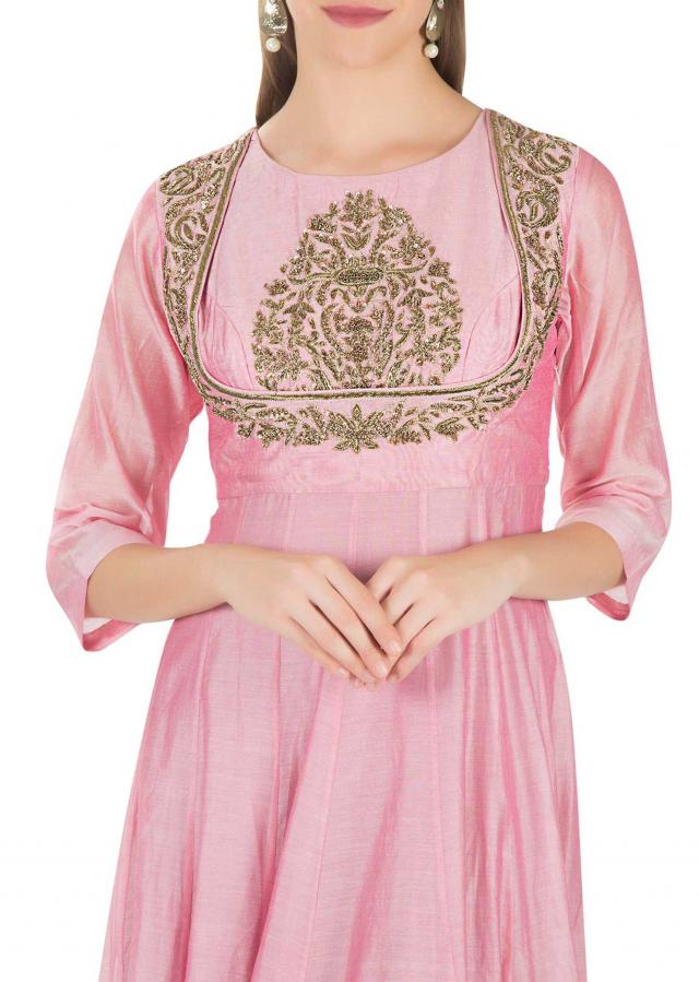 Onion Pink Cotton Silk Top Adorned with Zardosi and Sequins and Net Dupatta only on Kalki