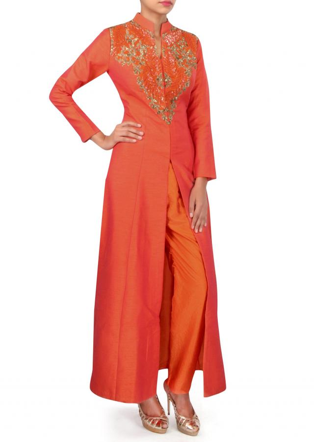 Orange A line suit embellished in french knot embroidery only on Kalki