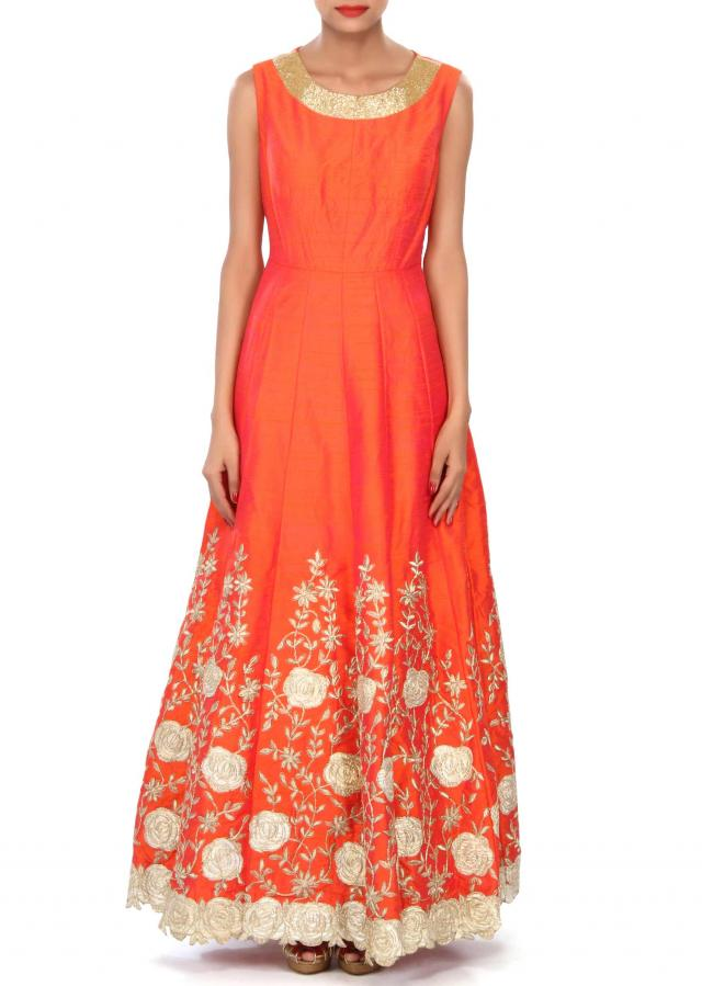 Orange anarkali suit featuring in zari embroidery only on Kalki