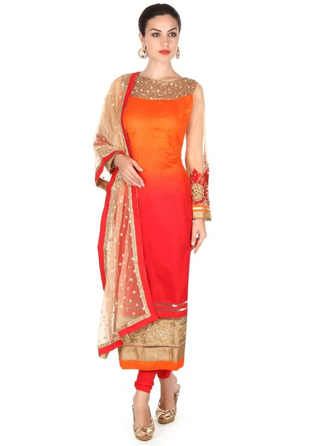 Orange and red shaded kurti adorn in mirror and sequin only on Kalki