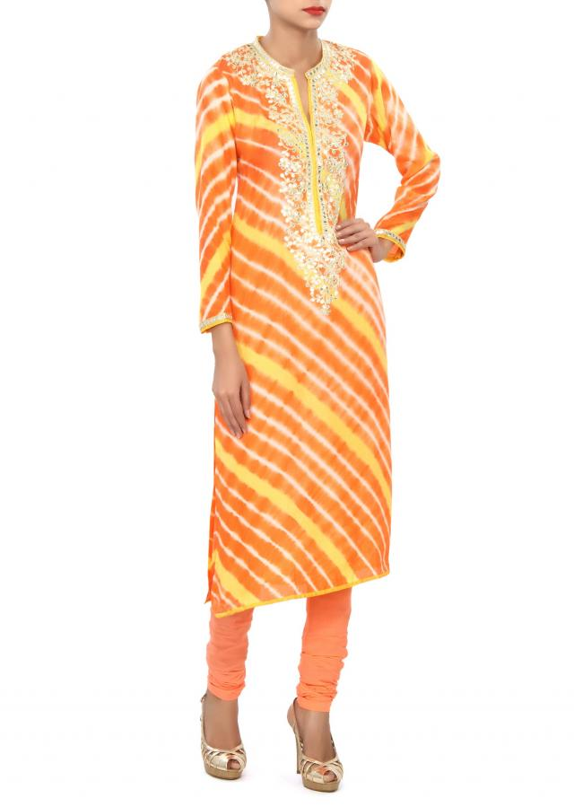 Orange and yellow kurti embellished in gotta patch work only on Kalki