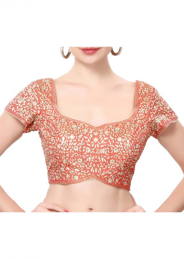 Orange blouse embellished in thread and sequin only on Kalki
