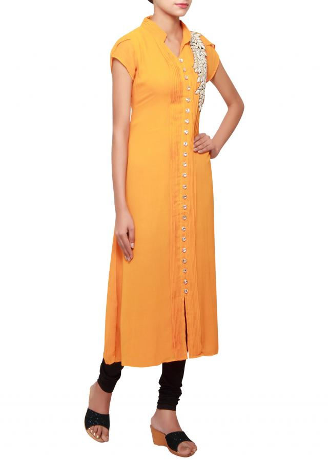 Orange georgette kurti embellished in patchwork only on Kalki