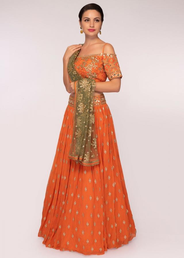 Orange Lehenga Set In Georgette With Sequins And Zari Embroidery And Butti Online - Kalki Fashion