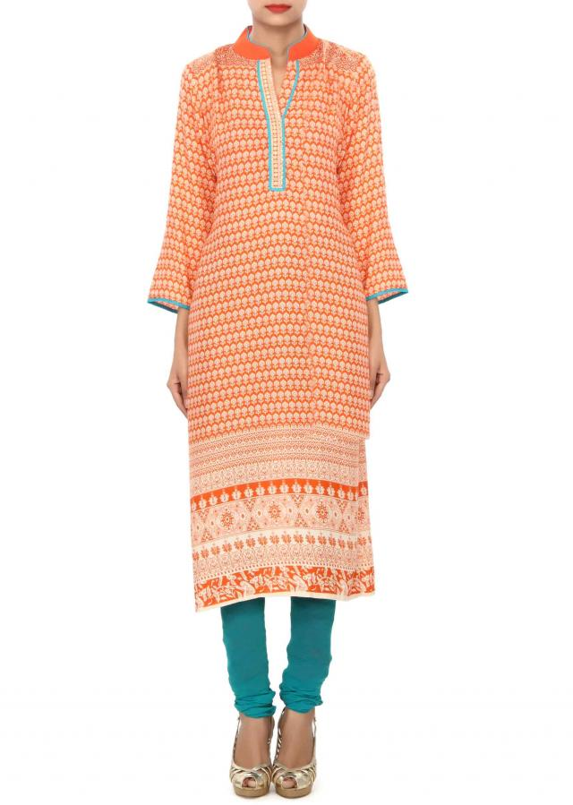 Orange kurti embellished in resham embroidery only on Kalki